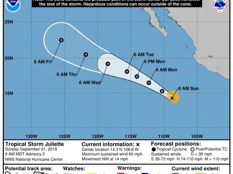 Se forma tormenta tropical Juliette