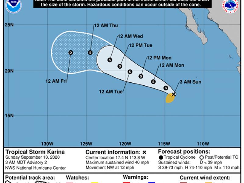 Se forma tormenta tropical Karina en el Pacífico