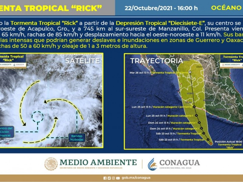 """Se forma Tormenta Tropical """"Rick"""" frente a Acapulco"""