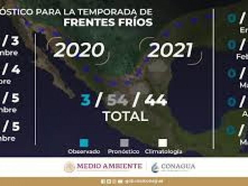 Se pronostican 54 frentes fríos para temporada 2020-2021