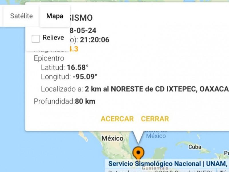 Se registra sismo con epicentro en Ixtepec