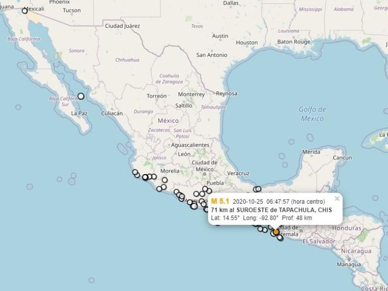 Se registra sismo de 5.1 en Chiapas