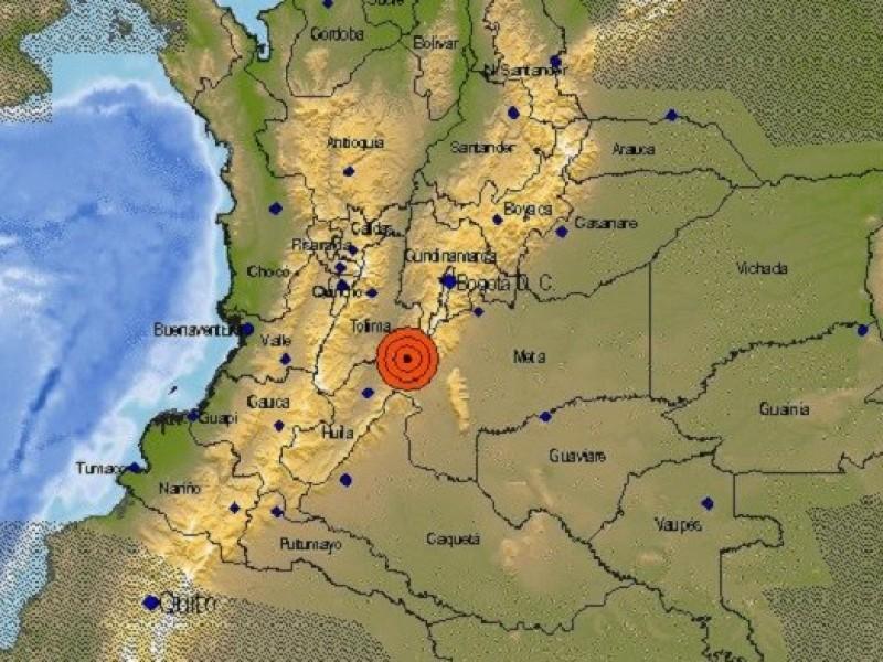 Se registra sismo de 5.2 grados en Colombia