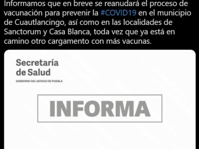 Se terminan vacunas COVID en tres unidades médicas de Puebla