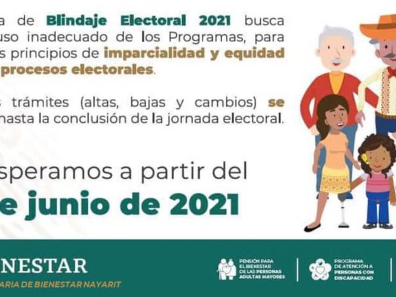 Secretaría de Bienestar suspende actividades por blindaje electoral