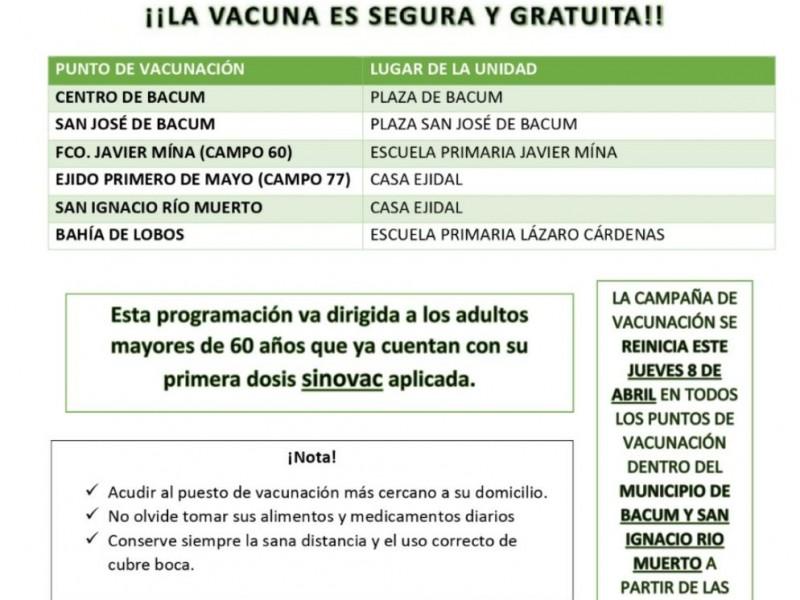 Segundas dosís en Bácum y San Ignacio Río Muerto