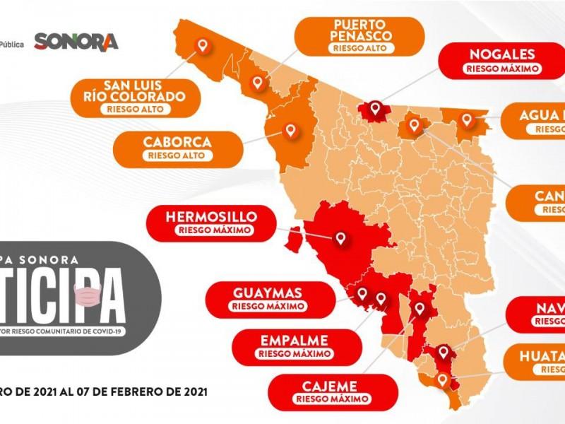 Seis municipios en alerta por riesgo máximo en el Mapa