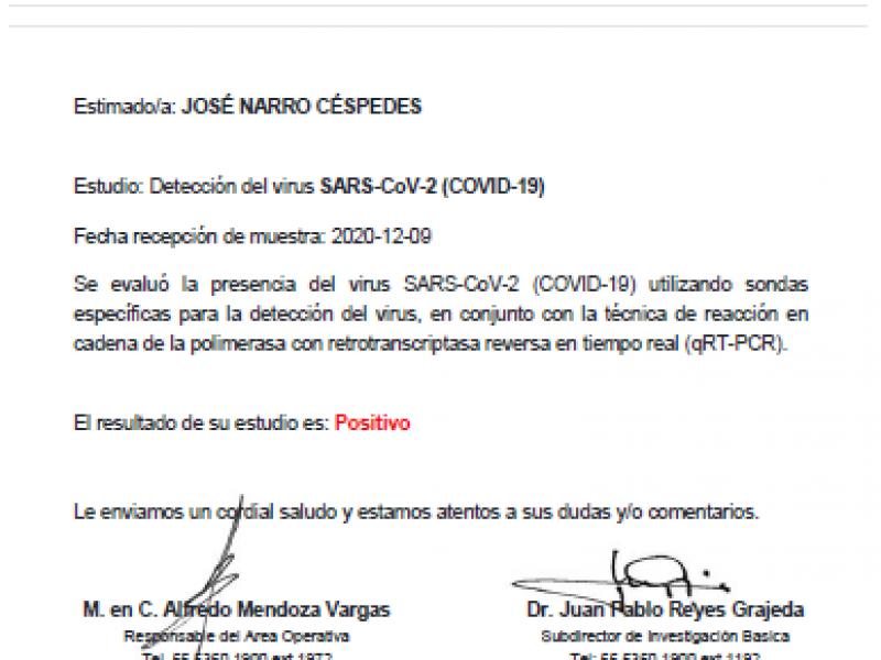 Senador José Narro da positivo a Covid-19
