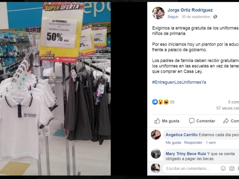 SEPEN investigó venta de uniformes en tiendas departamentales