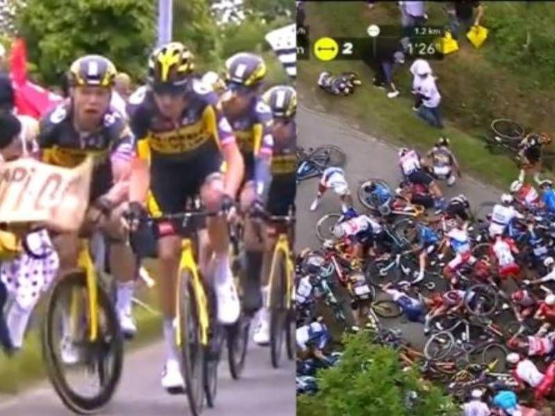 Será demandada espectadora que causó caída masiva de ciclistas
