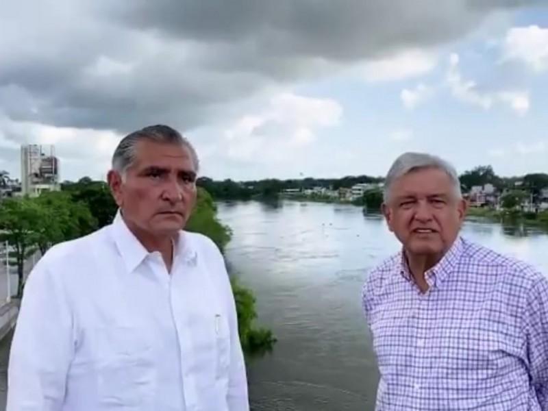 Sigue AMLO con evaluación de daños por inundaciones en Tabasco