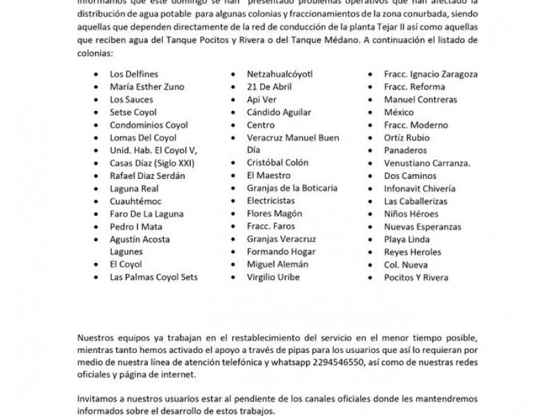 Sin agua también en la ciudad de Veracruz
