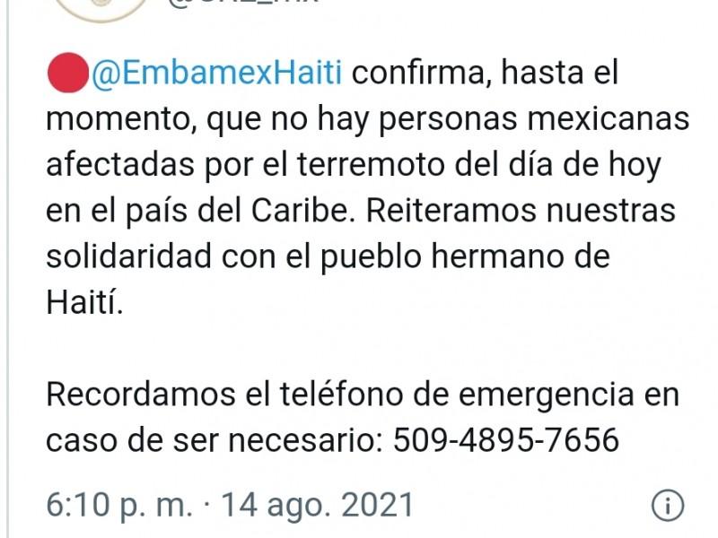 Sin reporte hasta ahora, de mexicanos en Haití: SRE