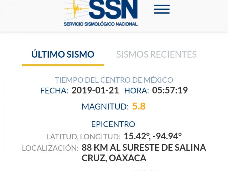 Sismo 5.8 grados se registra en el Istmo