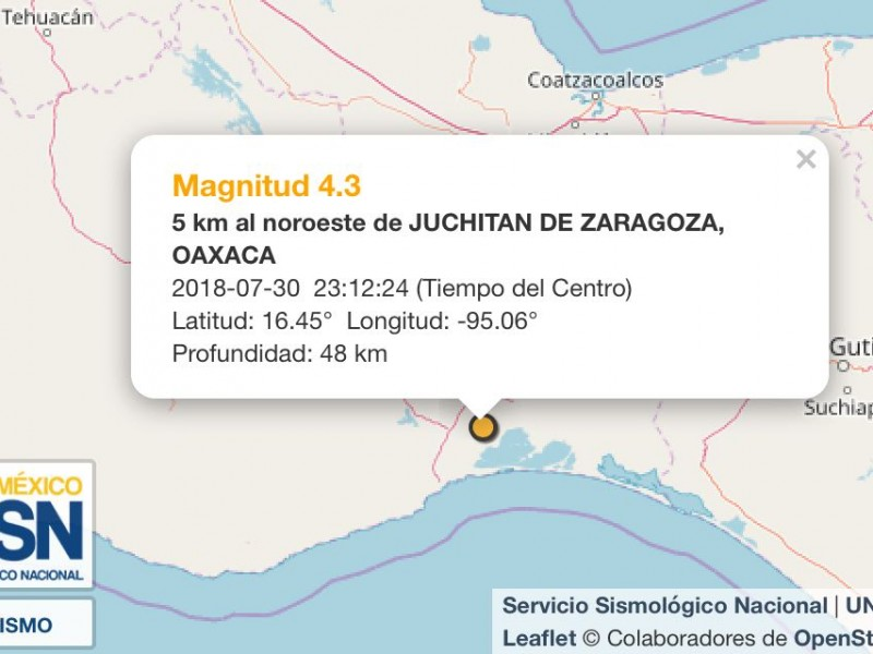 Sismo de 4.3 grados con epicentro en Juchitán