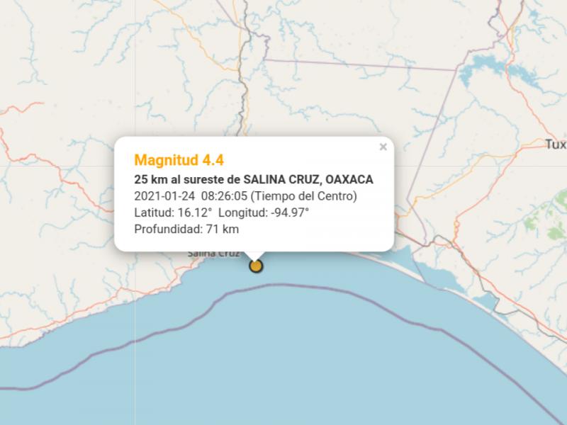 Sismo de 4.4 grados con epicentro en Salina Cruz