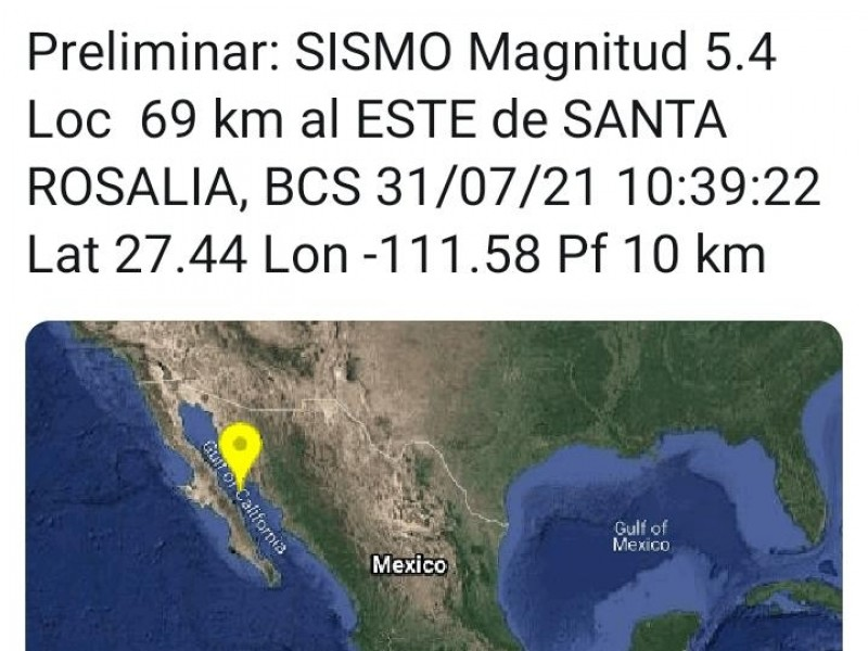 Sismo de 5.4 se percibió en Sonora y BCS