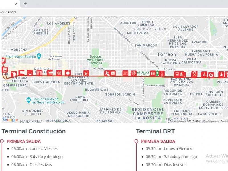 Sitio web revela tarifas y horarios del Metrobús Laguna