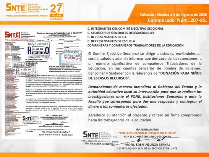 SNTE 27 exige investigación sobre retención de pagos a docentes