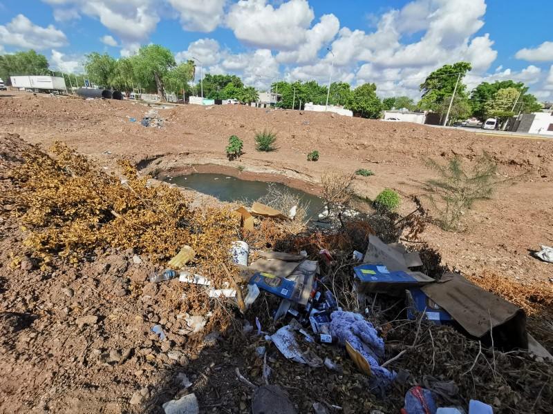 Socavón zafiro se volvió un basuron clandestino, obra sigue abandonada