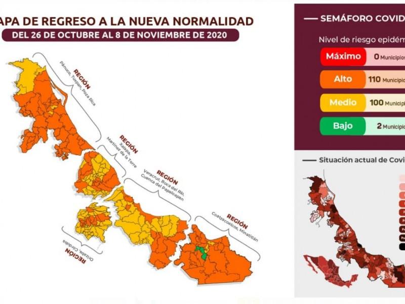 Soconusco y Jáltipan, únicos municipios en semáforo verde: SSA
