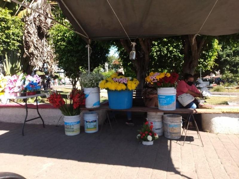 Solo 2 floristas se instalaron en la plaza del músico