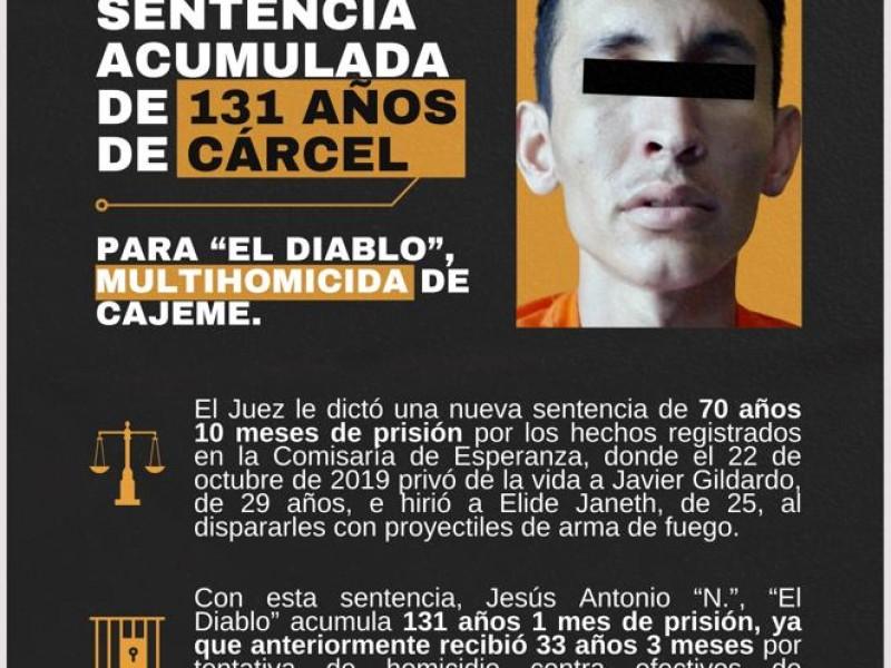 Son 131 años de cárcel a objetivo peligroso en Cajeme