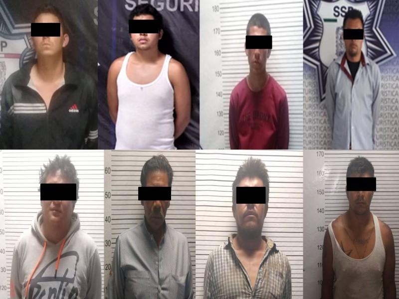 SSP aseguró a 8 masculinos, presuntos delincuentes
