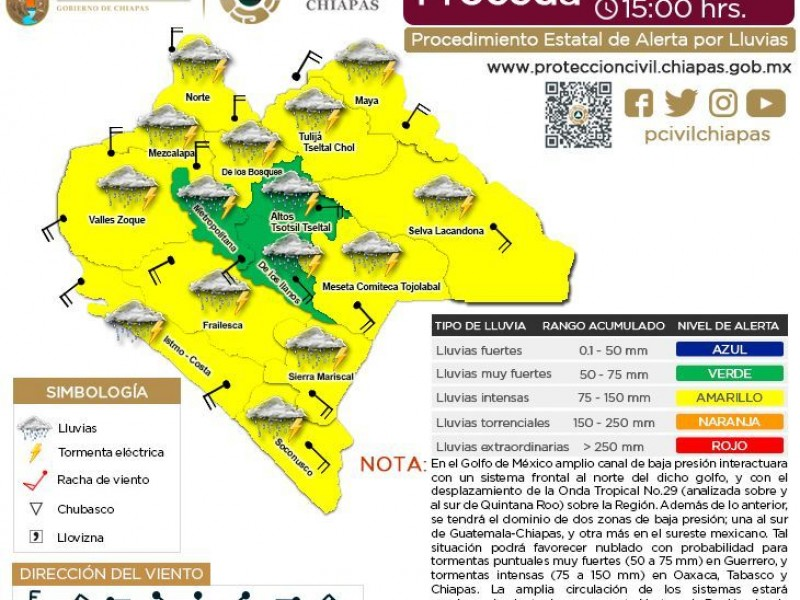 Sube a 12 regiones alerta amarilla por lluvias