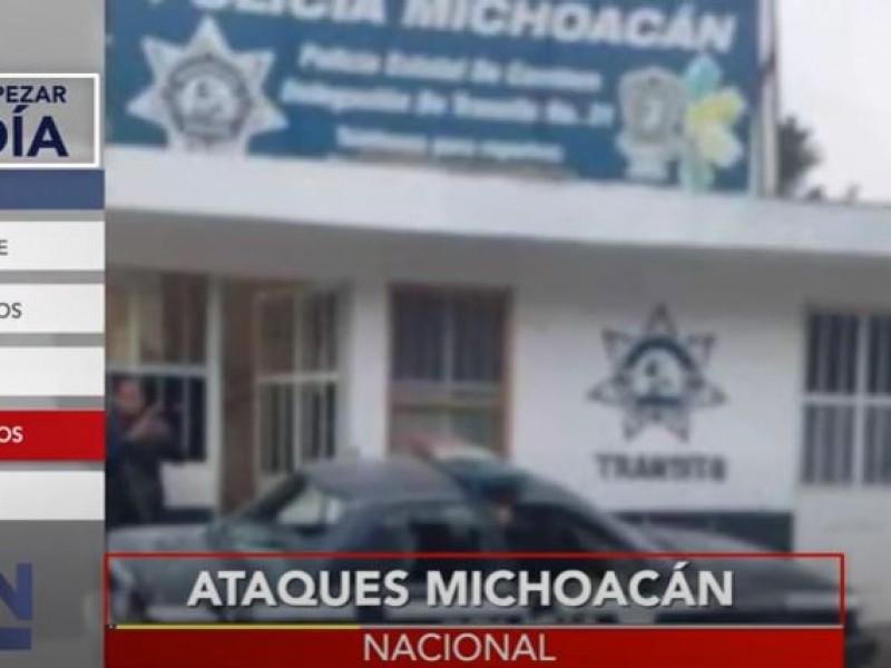 Sujetos armados atacan base de policía en Michoacán