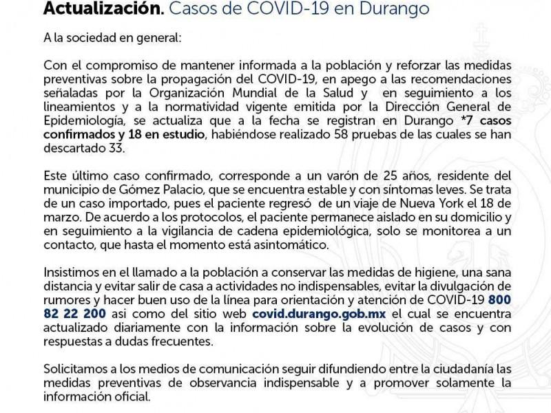 SUMAN 7 casos positivos de COVID-19 en Durango