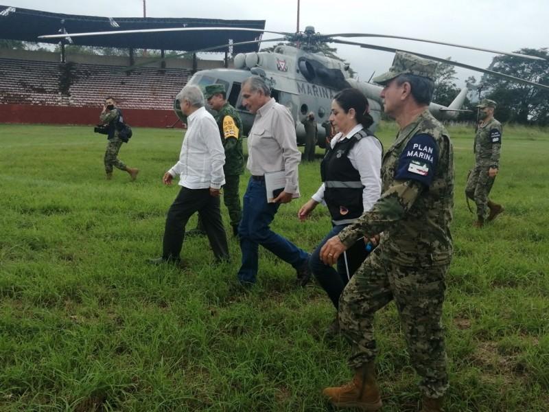 Supervisa AMLO afectaciones en Tabasco