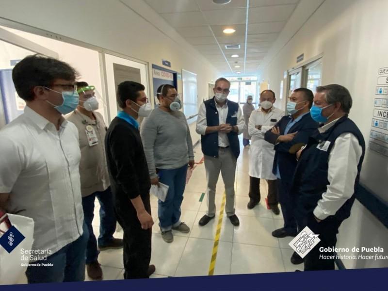 Supervisan avances del área COVID del Hospital del Niño Poblano