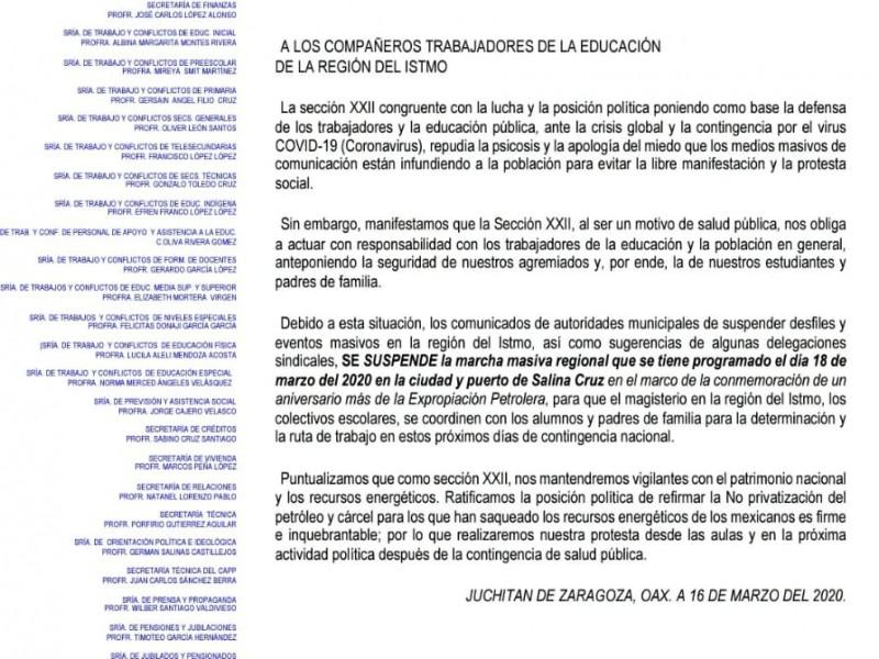 Suspende la CNTE marcha programada en Salina Cruz