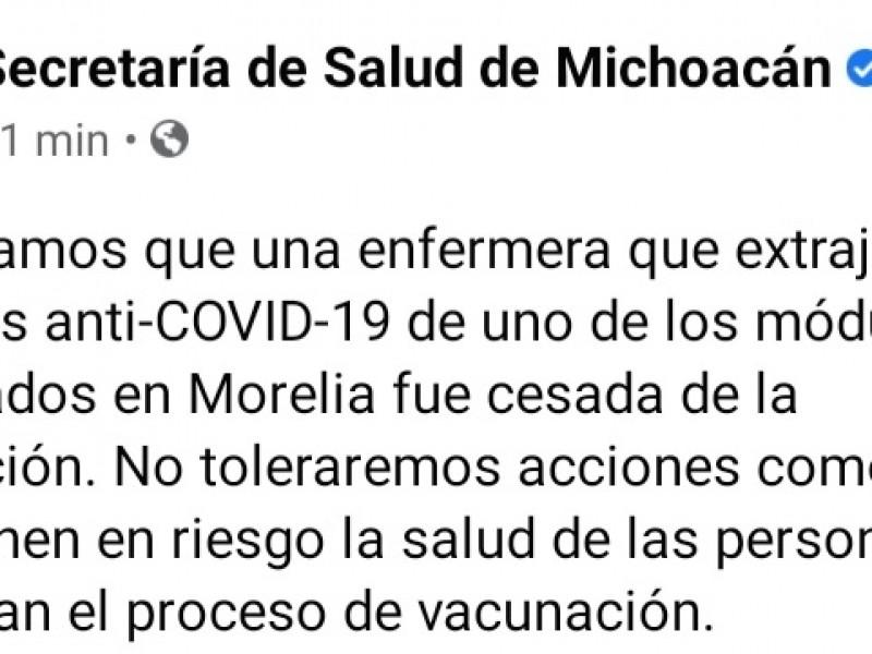 Suspenden a enfermera que extrajo vacunas contra COVID-19 en Morelia