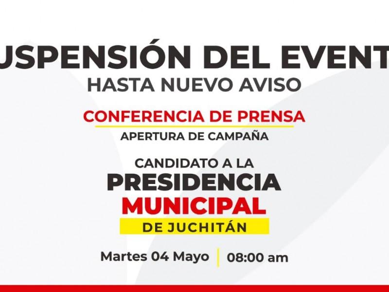 Suspenden actos de apertura de campaña en Juchitán
