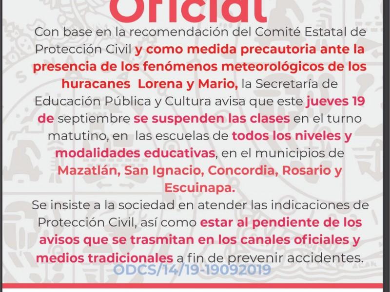 Suspenden clases en 5 municipios por lluvias