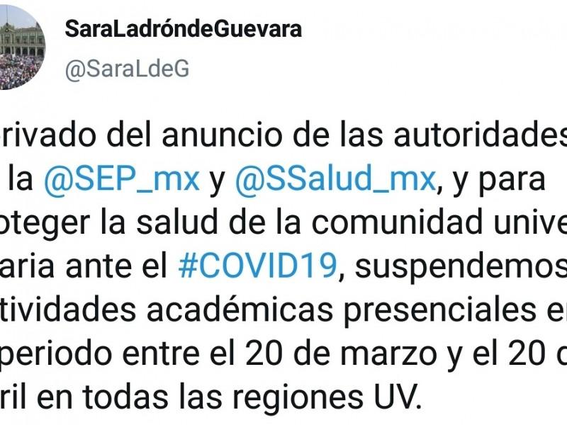 Suspenden clases en la UV por COVID-19
