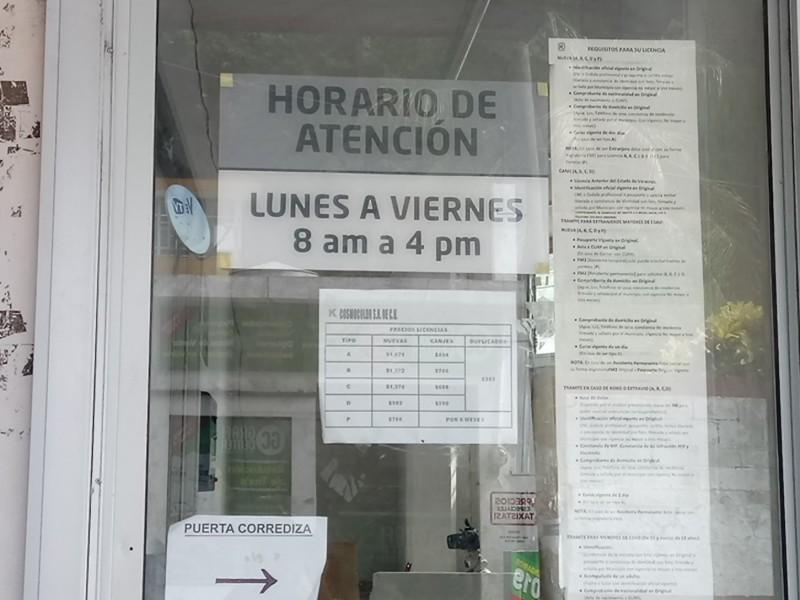 Suspenden servicio para tramite de licencias de conducir