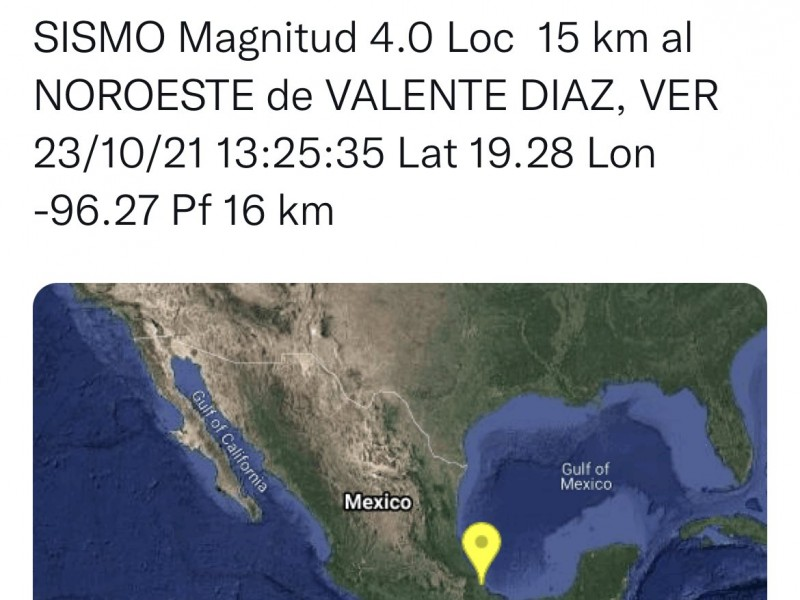 Tiembla en localidad del puerto de Veracruz