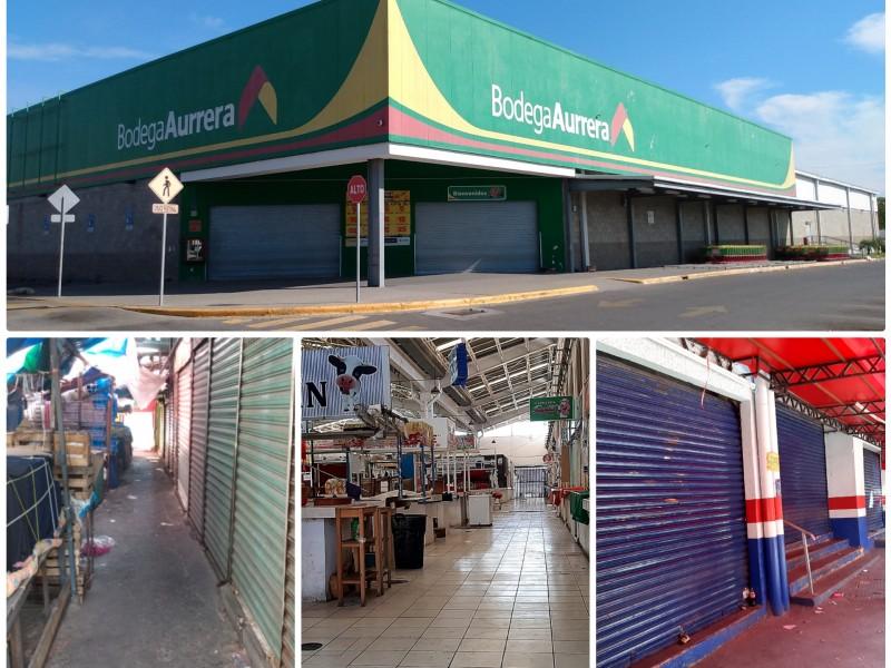 Tiendas trasnacionales, mercados y establecimientos comerciales cierran en Salina Cruz