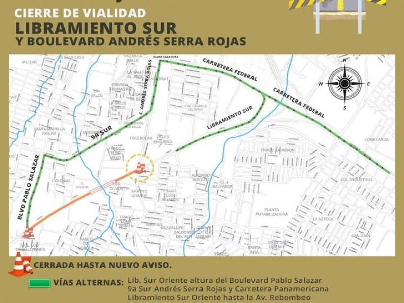Tome sus precauciones ante obra del blvd. Andrés Serra Rojas