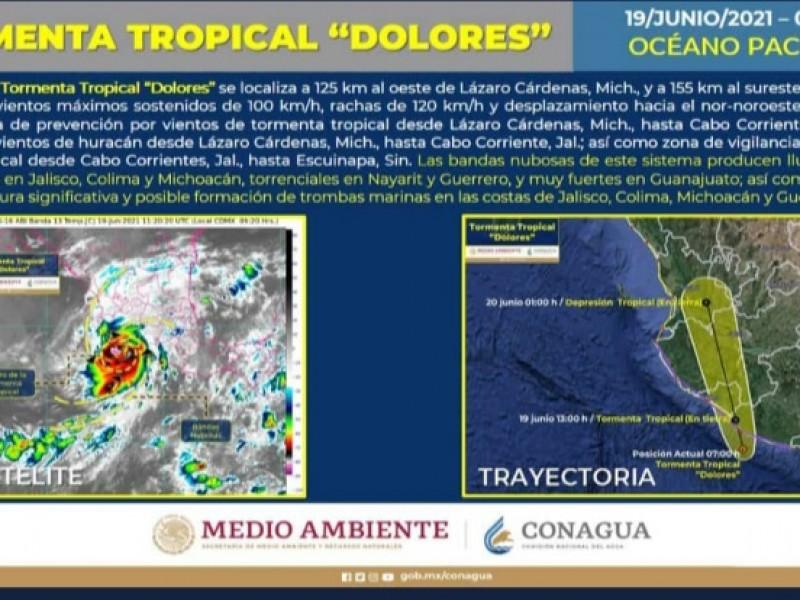 Tormenta Tropical Dolores se encuentra a 155km oeste de Manzanillo