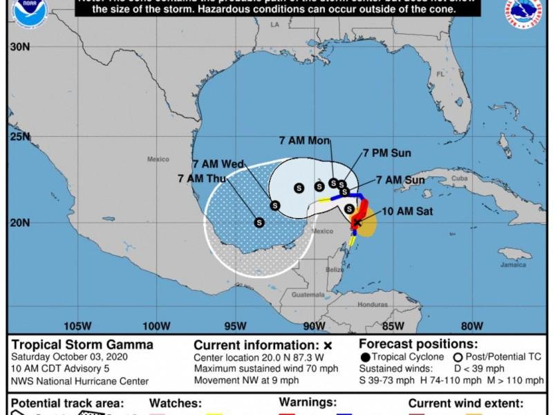 Tormenta tropical Gamma afectará el sureste mexicano