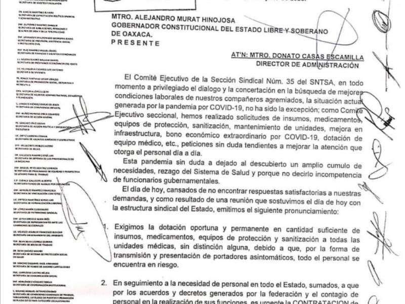 Trabajadores de Salud anuncian paro de labores en la entidad
