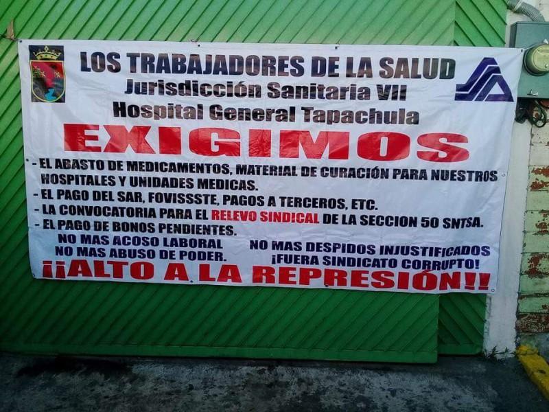Trabajadores de Salud en Tapachula se manifiestan