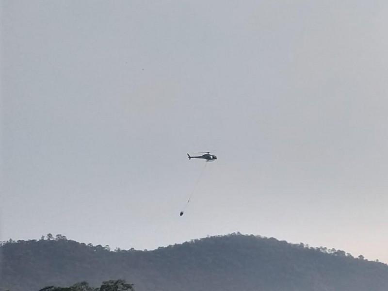 Trabajan para sofocar incendio forestal en cerro de Quiñiatla
