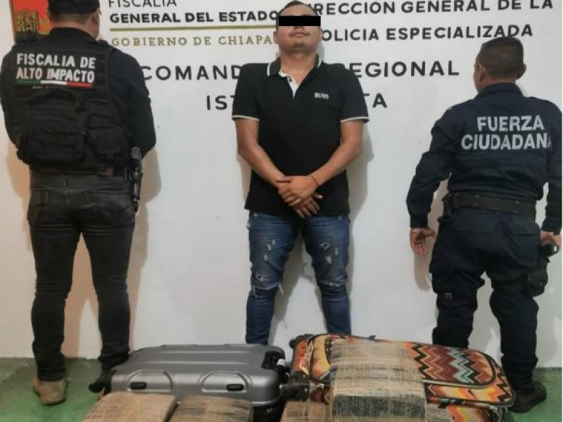Traficante de marihuana es detenido en Chiapas
