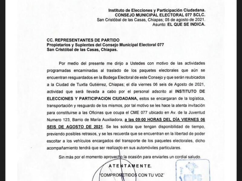 Trasladan paquetería electoral resguardada en San Cristóbal