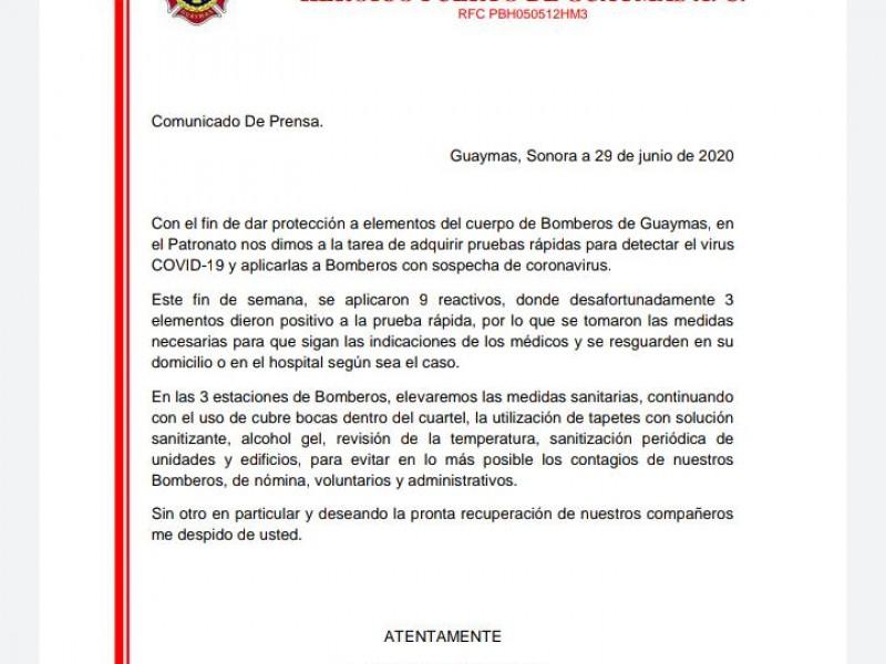 Tres bomberos de Guaymas con Covid-19, refuerzan medidas